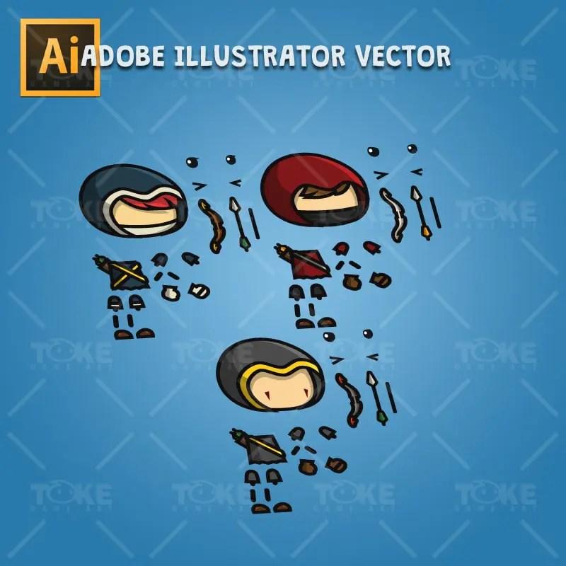 Archer Character Pack - Adobe Illustrator Vector Art Based Character