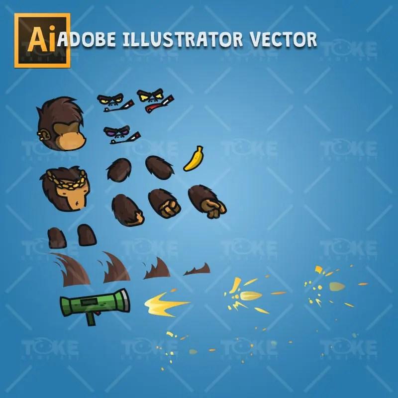 Cartoon Gorilla Boss - Adobe Illustrator Vector Art Based