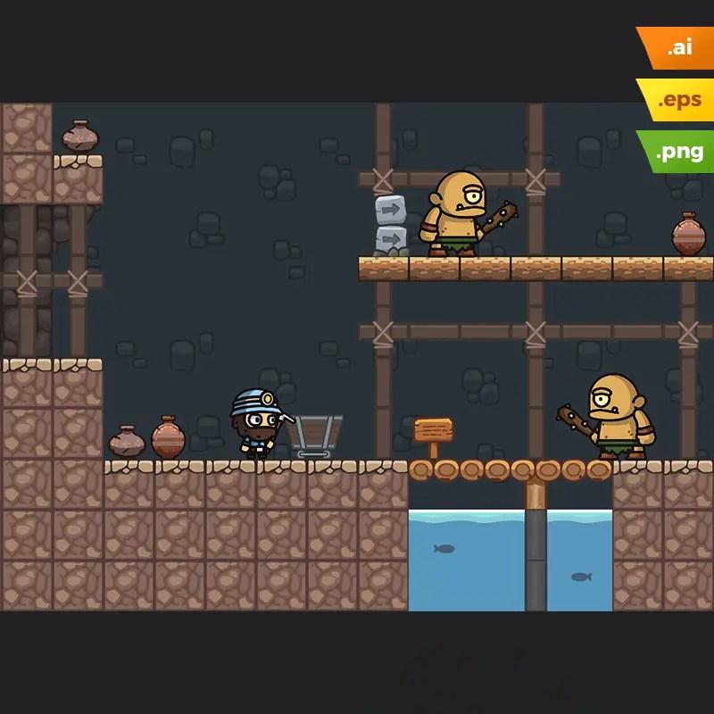 Mine Platformer Tileset - 2D Miner Game