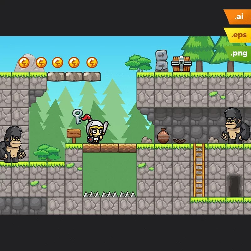 Pine Hills Platformer Tileset - 2D Game Asset for Indie Game Developer
