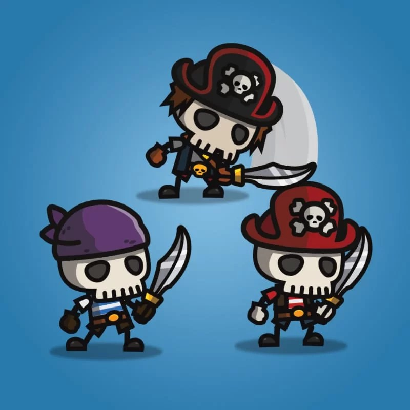 Pirate Skeleton - 2D Enemy Character Sprite for Game