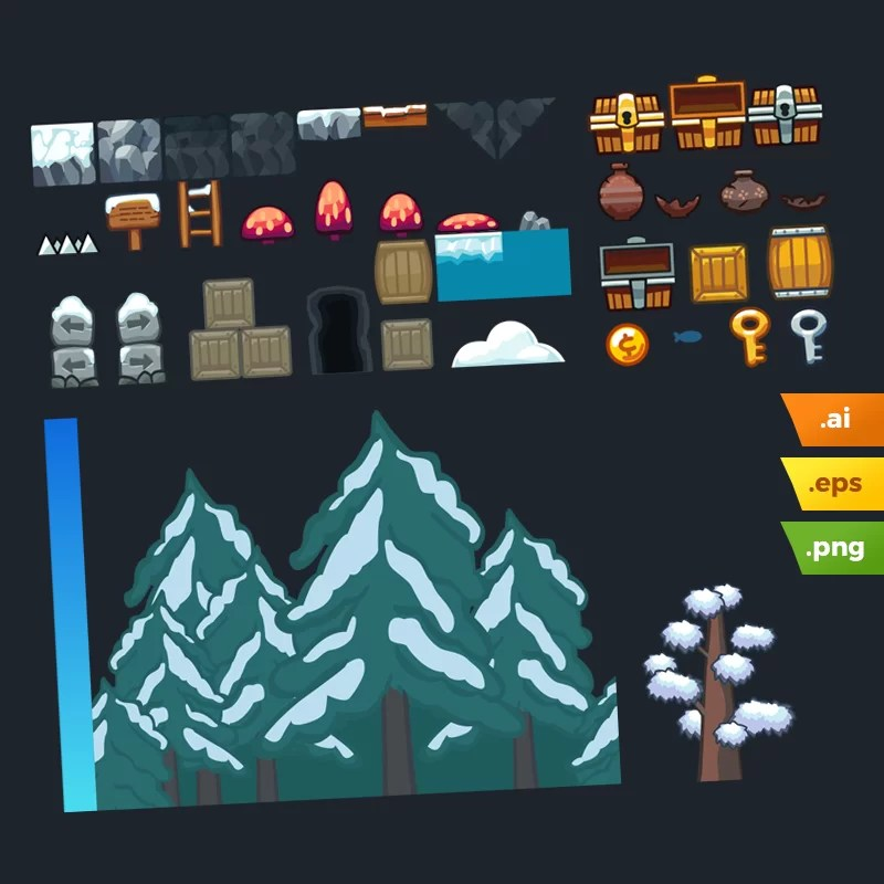 Snow Platformer Tileset - Adobe Illustrator Vector Art Based