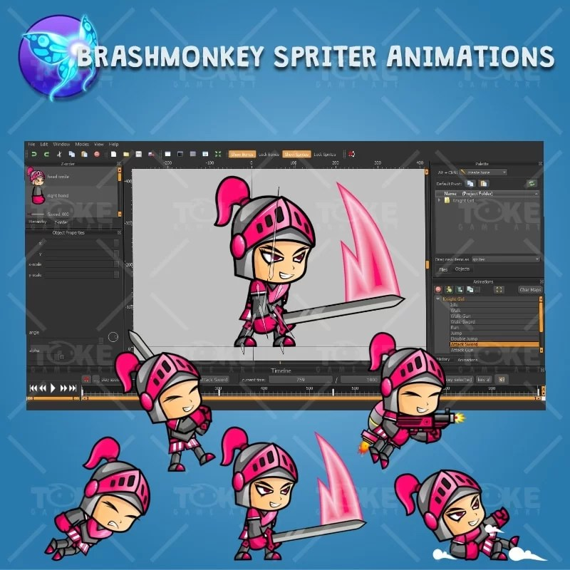 Girl Knight Game Character Sprite - Brashmonkey Spriter Character Animation