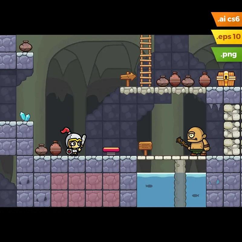 Cave Platformer Tileset - 2D Game Asset