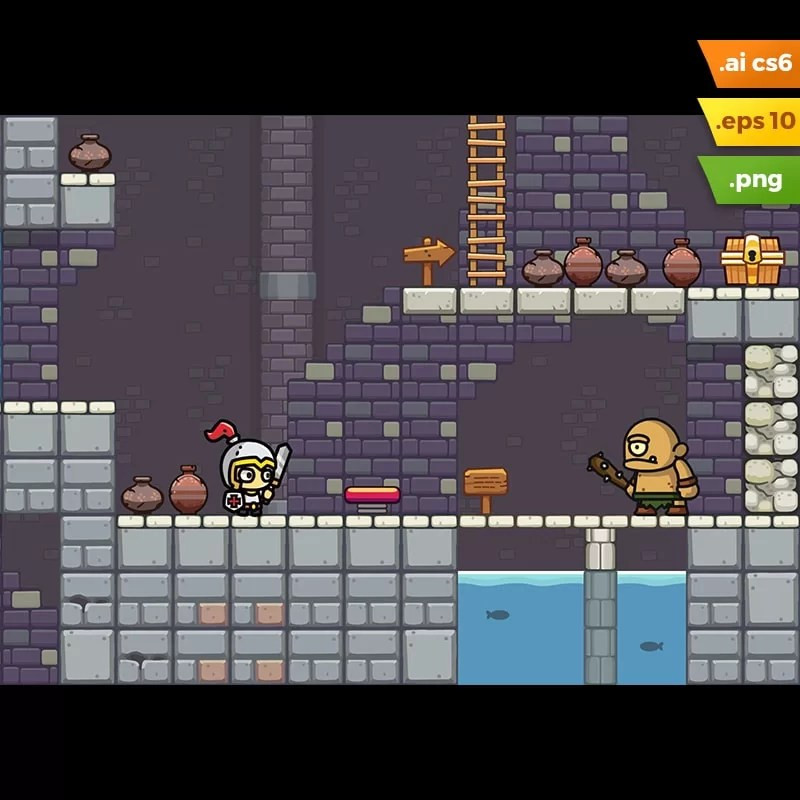 Dungeon Platformer Tileset - 2D Adventure Side Scrolling Game