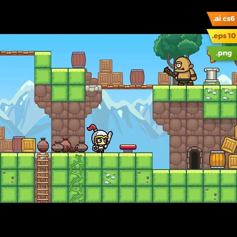 Grassy Hills Platformer Tileset - 2D Game Asset for Indie Game Developer