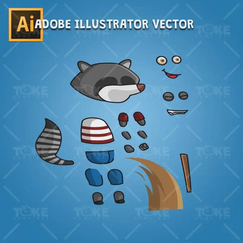 Raccoon - Adobe Illustrator Vector Art Based Character