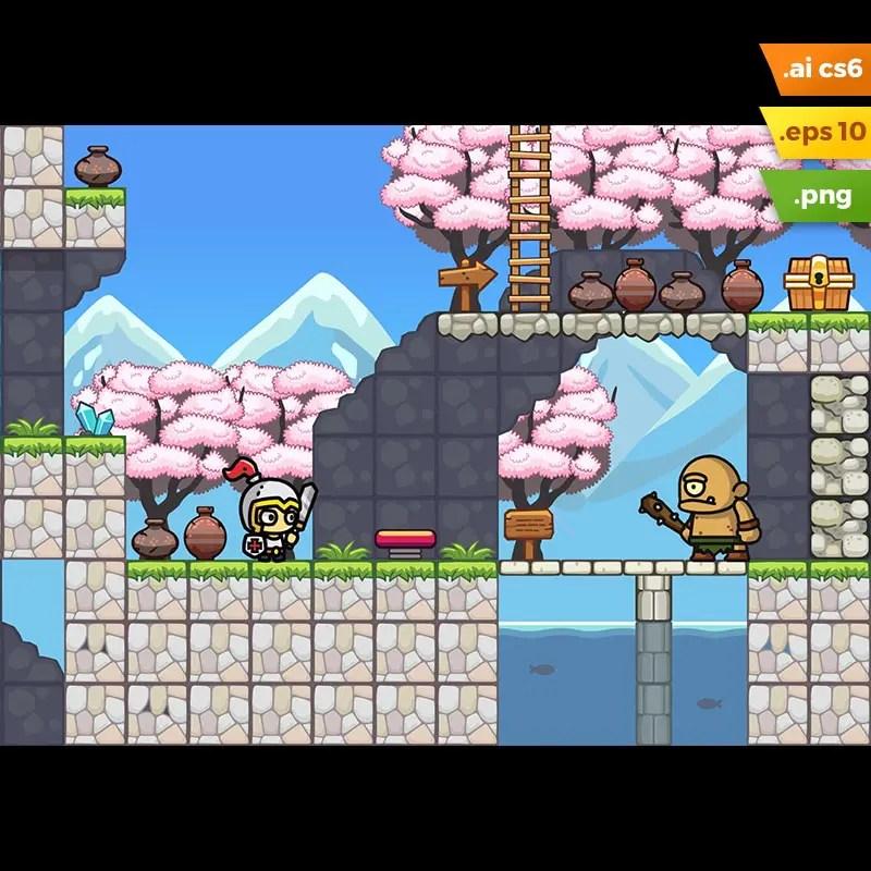 Sakura Garden Platformer Tileset - 2D Game Art