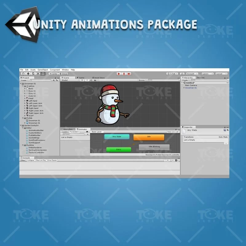 Snowman Character Pack - Unity Character Animation Ready with Spriter2UnityDX