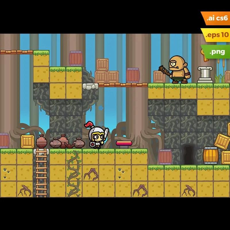Swamp Platformer Tileset - 2D Game Asset for Indie Game Developer