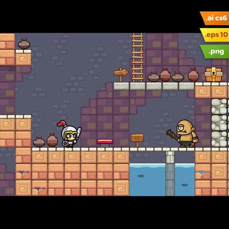 Temple Platformer Tileset - Endless Runner Games