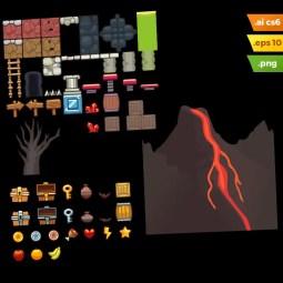 Volcano Area Platformer Tileset - Adobe Illustrator Vector Art Based Volcano Level Set