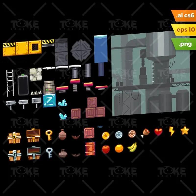 Factory Platformer Tileset - Adobe Illustrator Vector Art Based