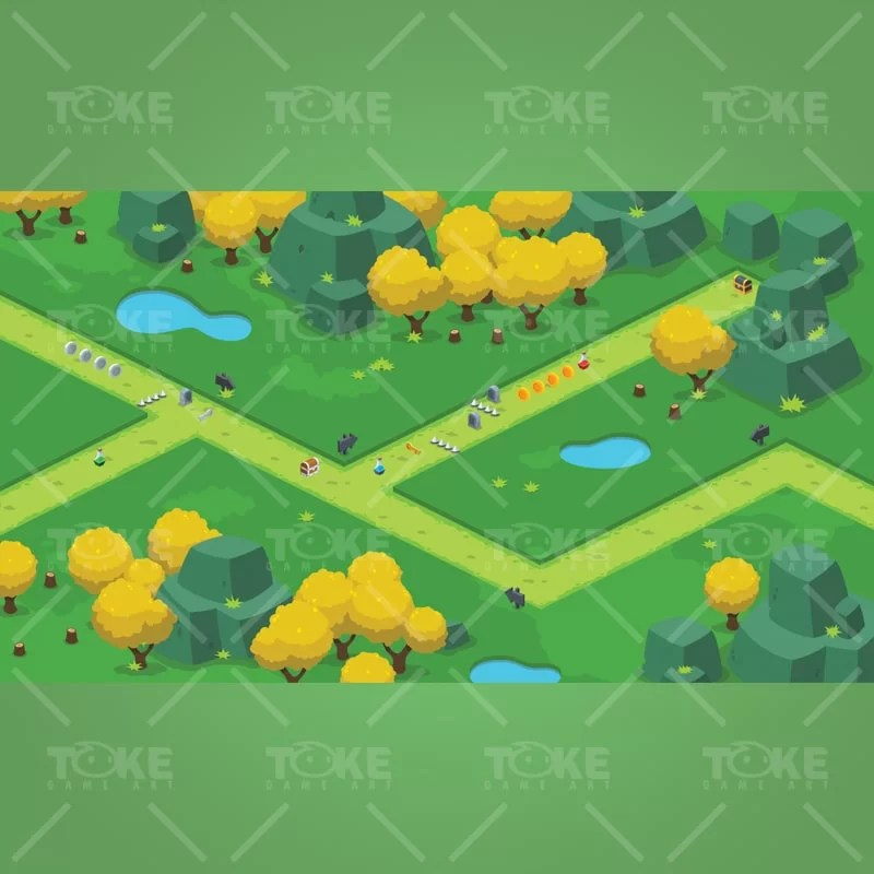 Isometric Forest Tileset - Tower Defense Tactical Games