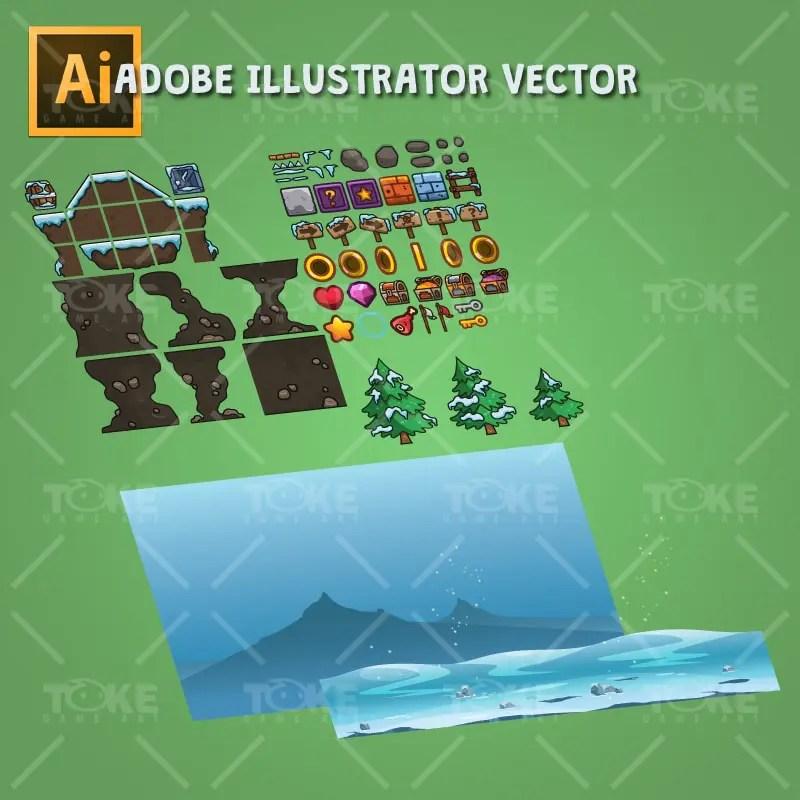Snowy Game Level Set - Adobe Illustrator Vector Art Based