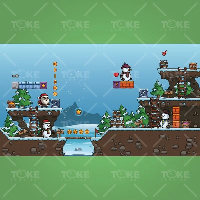 Snowy Game Level Set - Royalty Free 2D Asset for Indie Game Developer