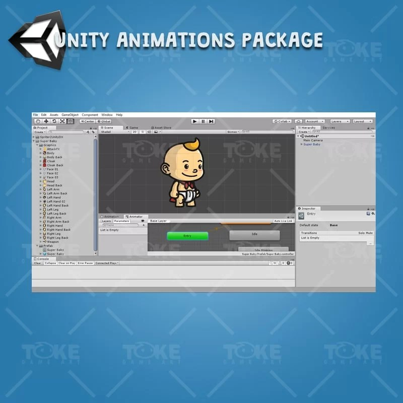 Super Baby - Unity Character Animation Ready with Spriter2UnityDX Tool