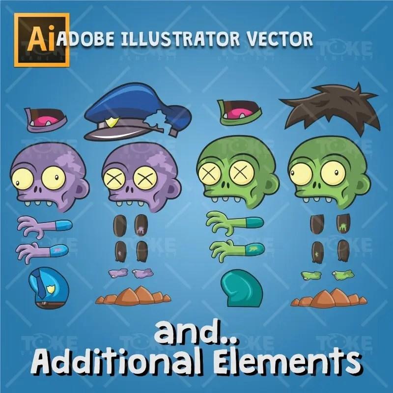 Zombie Pack 2D Game Character Sprite - Adobe Illustrator Vector Art Based