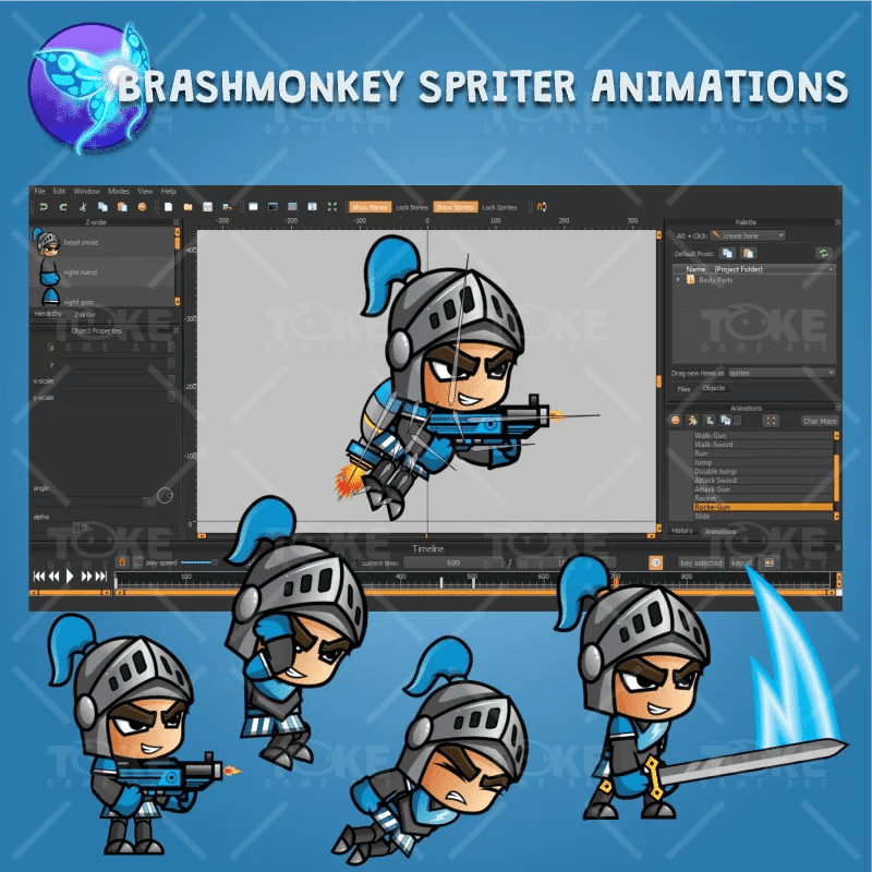 Blue Knight 2D Game Character Sprites - Brashmonkey Spriter Character Animation