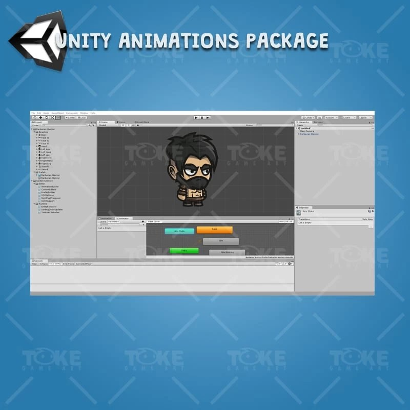Barbarian Warrior - Unity Character Animation Ready with Spriter2UnityDX Tool