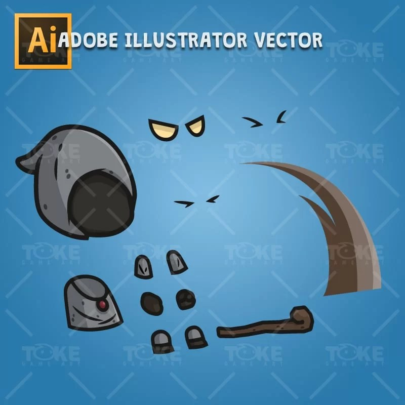 Black Wizard - Adobe Illustrator Vector Art Based Character Body Part