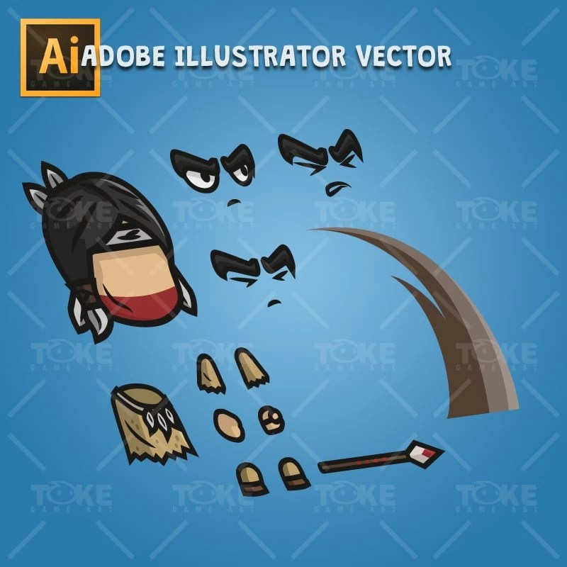 Indian Tribe Knight - Adobe Illustrator Vector Art Based Character Body Parts