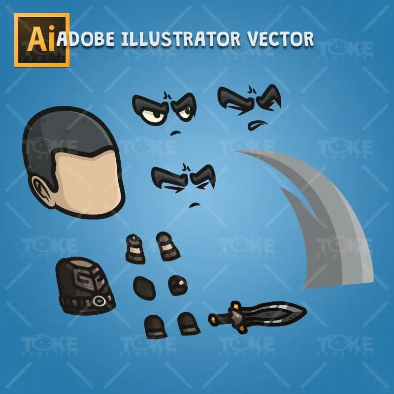 Medieval Commander - Adobe Illustrator Vector Art Based Character Body Part