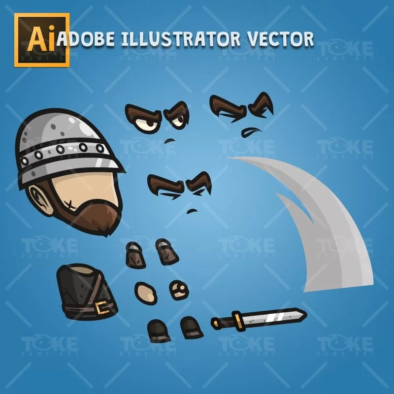Medieval Sergeant - Adobe Illustrator Vector Art Based Character Body Part