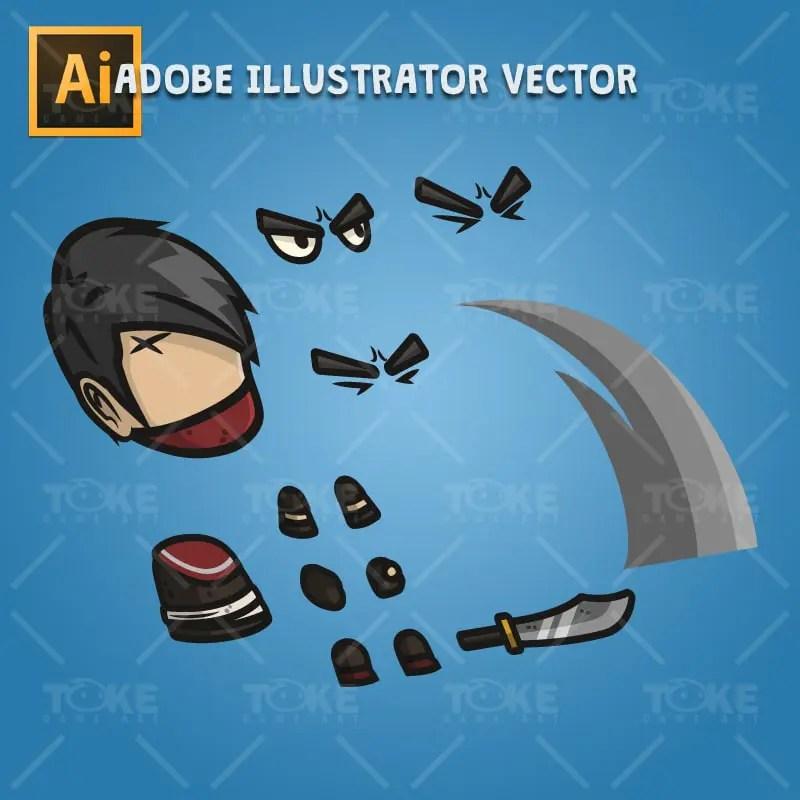 Medieval Thug - Adobe Illustrator Vector Art Based Character Body Parts