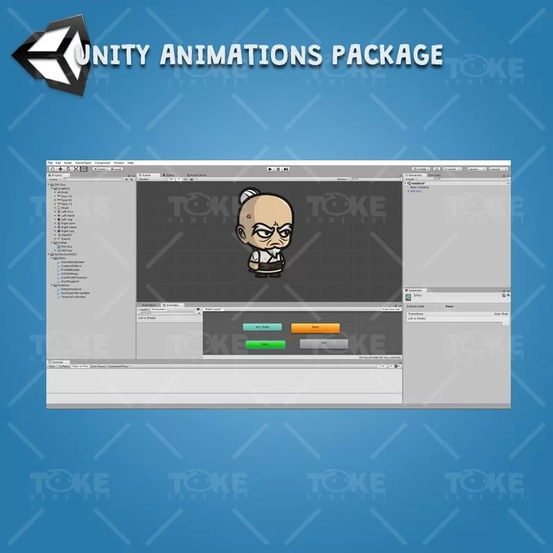 Old Guy - Unity Character Animation Ready with Spriter2UnityDX Tool