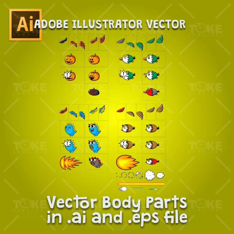 Flying Enemy 4 Pack - Adobe Illustrator Vector Art Based Character Body Parts