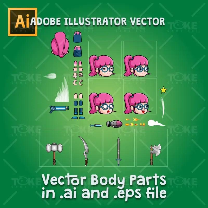 Geek Girl 2D Game Character Sprite - Adobe Illustrator Vector Art Based