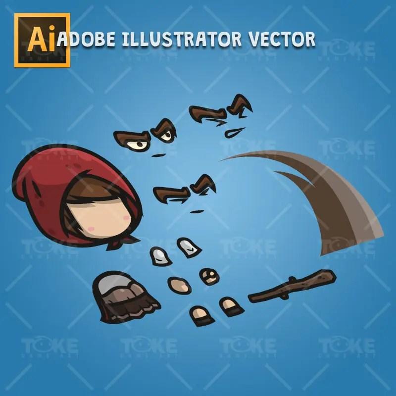 Medieval Hooded Girl - Adobe Illustrator Vector Art Based Character Body Parts