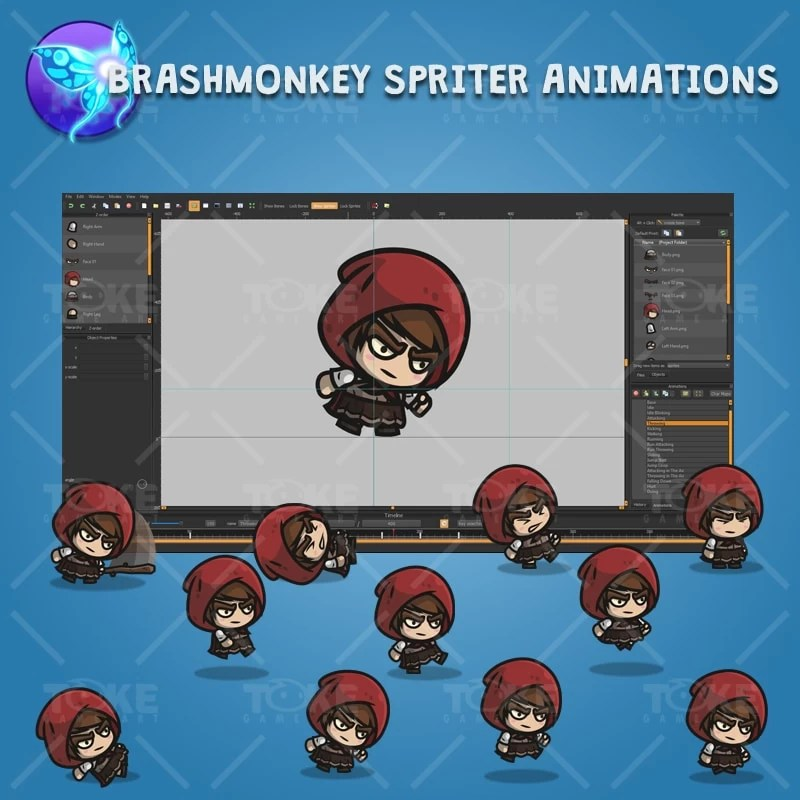 Medieval Hooded Girl - Brashmonkey Spriter Charcater Animations