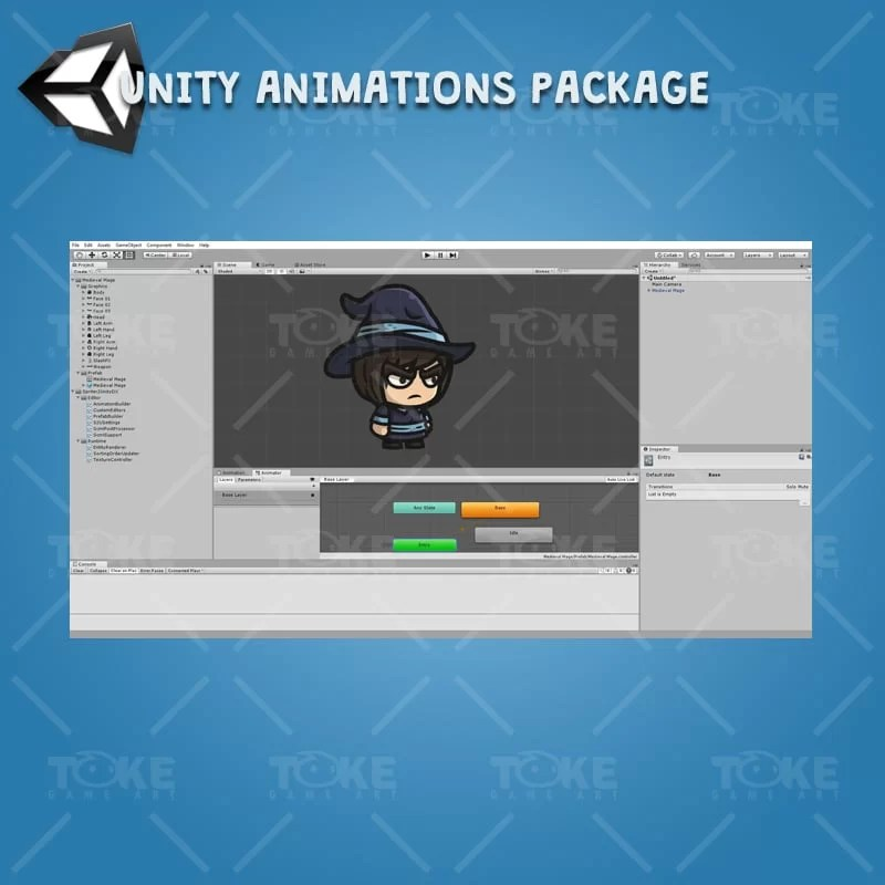 Medieval Mage - Unity Character Animation Ready with Spriter2UnityDX Tool