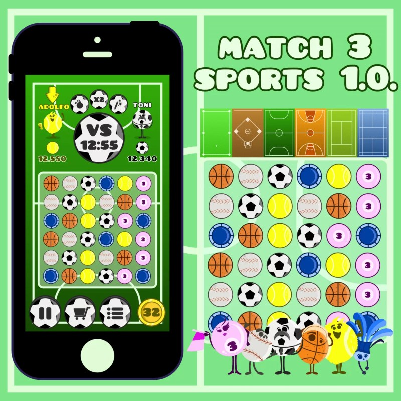 Match 3 Sports - 2D Game Asset for Indie Game Developer