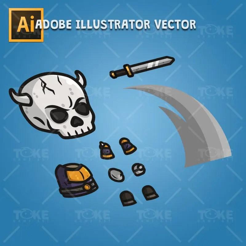 Skull Knight - Adobe Illustrator Vector Art Based Character Body Parts