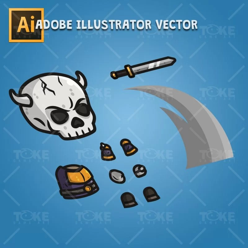 Skull Knight - Adobe Illustrator Vector Art Based Character Body Parts