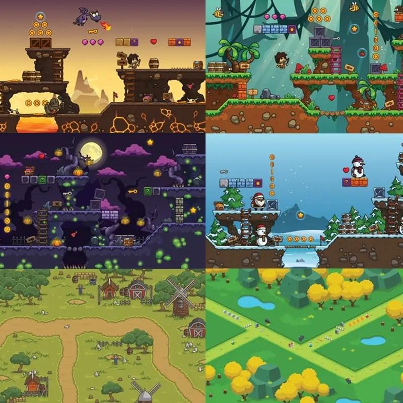 2D Game Art Bundle - 2D Game Platformer Tilesets