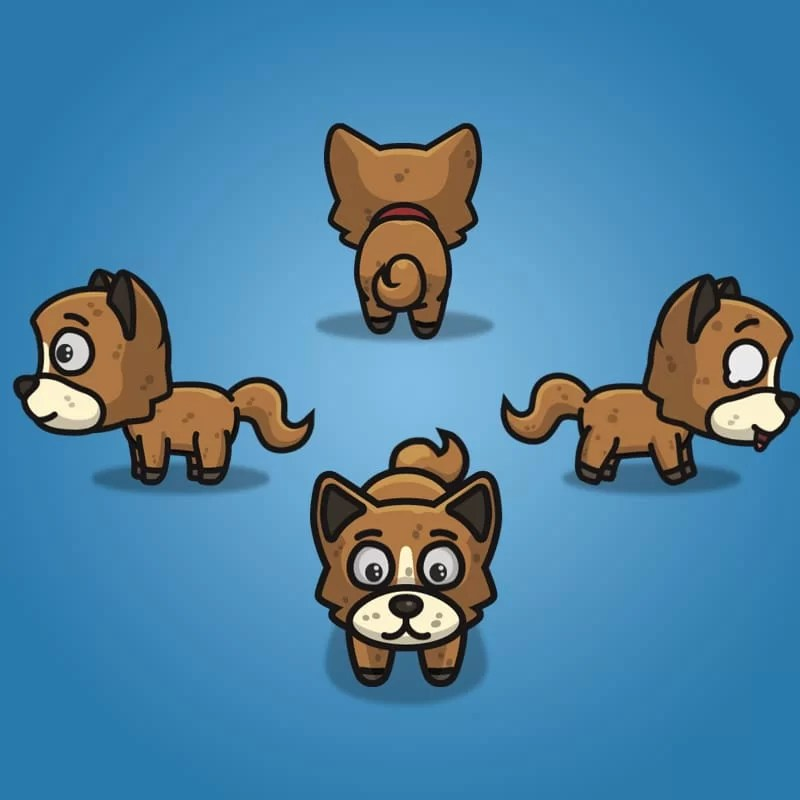 4 Directional Brown Dog - 2D Character Sprite