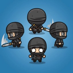 4 Directional Ninja - 2D Character Sprite for Indie Game Developer