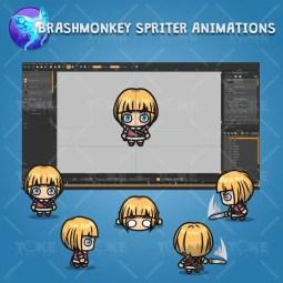 4 Directional Warrior Girl - Brashmonkey Spriter Character Animations