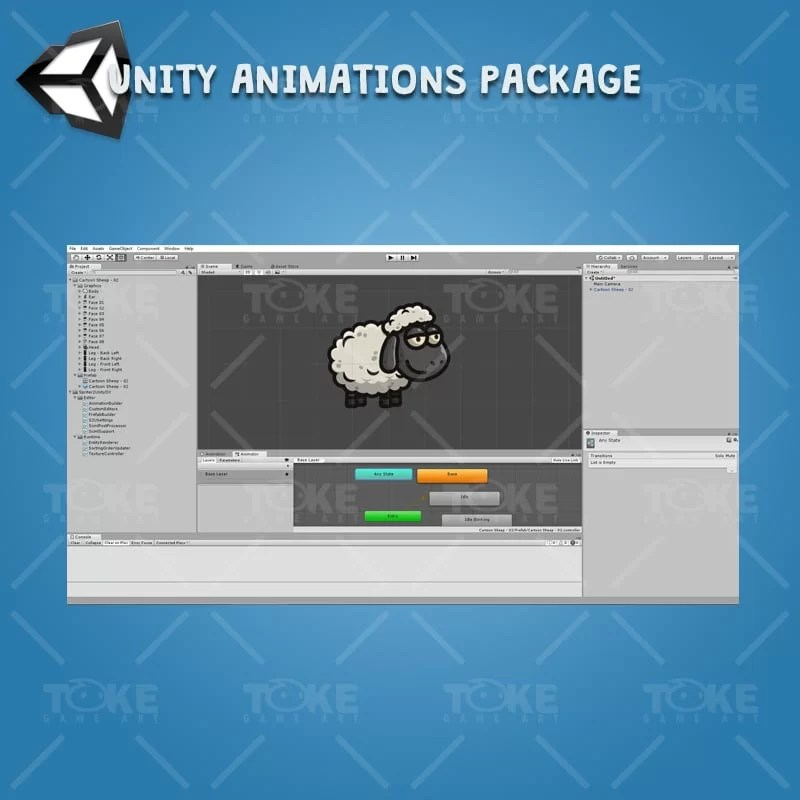 Cartoon Sheep - Unity Character Animation Ready with Spriter2UnityDX Tool