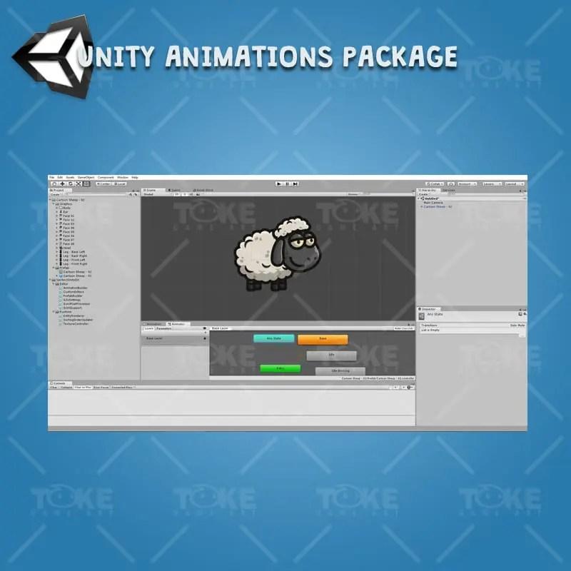 Cartoon Sheep - Unity Character Animation Ready with Spriter2UnityDX Tool