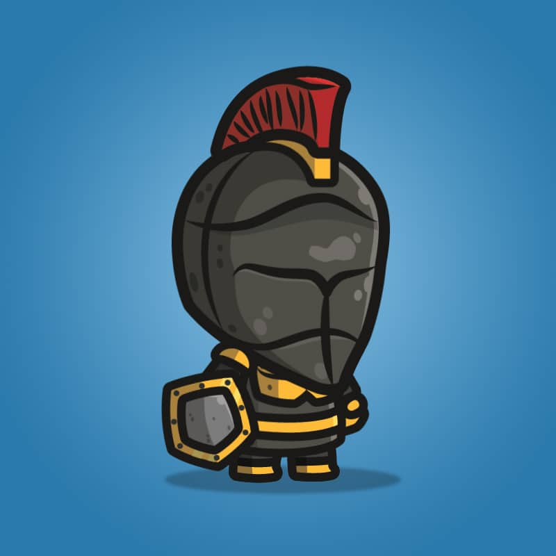 Frontier Defender Spartan Knight - 2D Character Sprite for Indie Game Developer