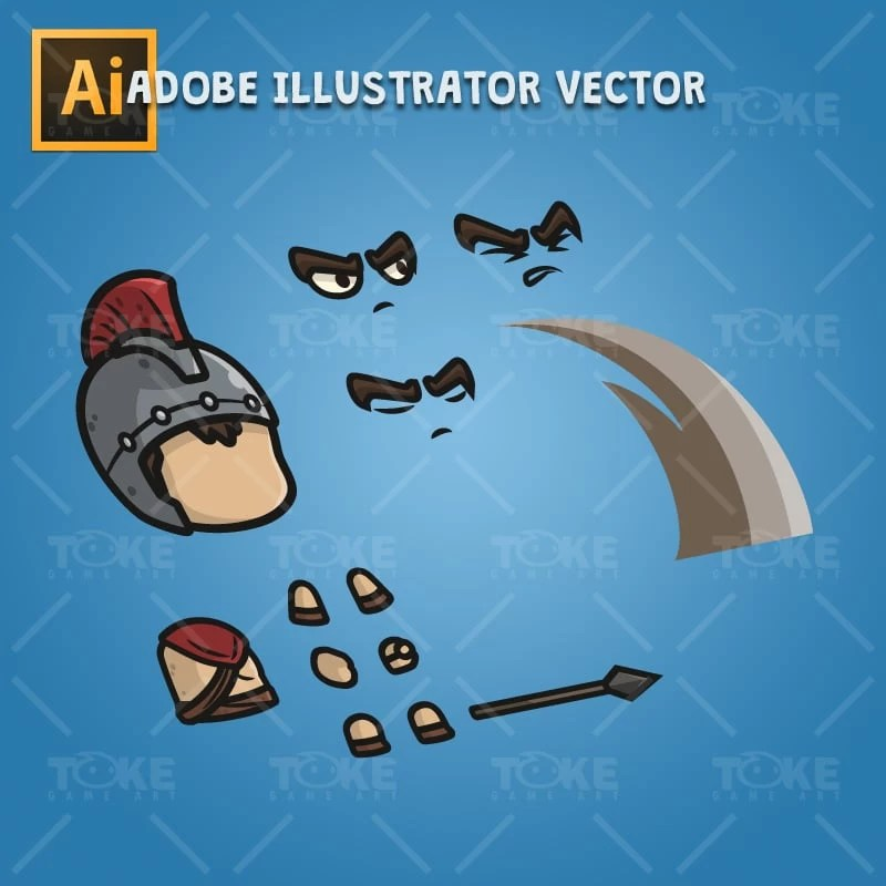 Spartan Knight with Spear - Adobe Illustrator Vector Art Based Character Body Parts