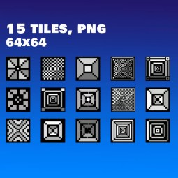 Black and White Tileset - 2D Retro Styled Game Platformer