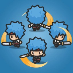 4 Directional Blue Hair Guy - 2D Character Sprite