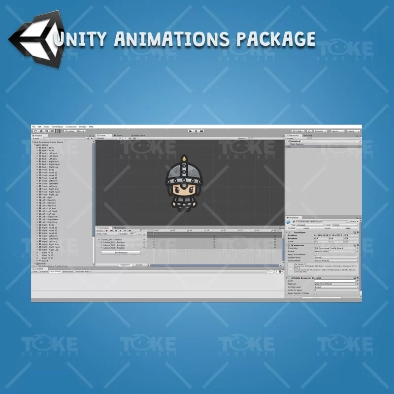 4 Directional Castle Guard - Unity Character Animation Ready with Spriter2UnityDX Tool