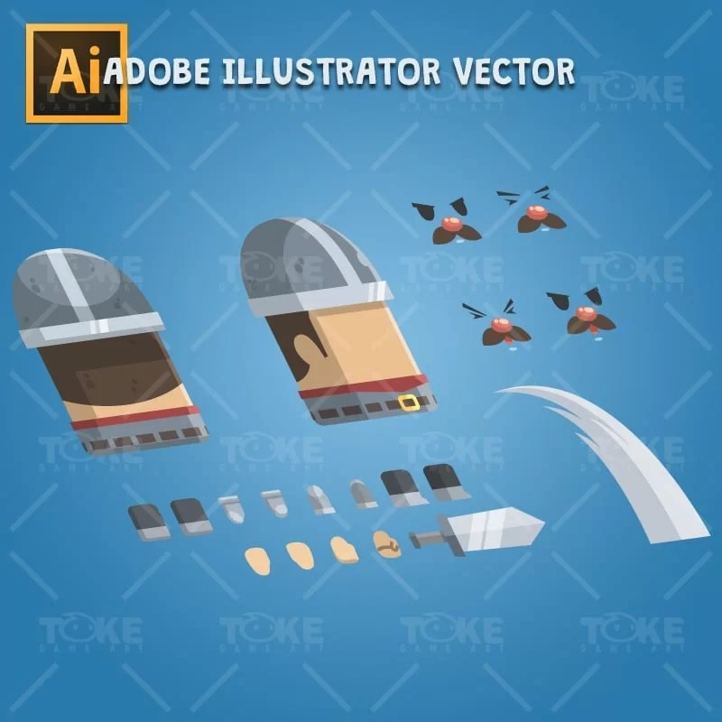 Flat Style Castle Guard - Adobe Illustrator Vector Art Based Character Body Parts